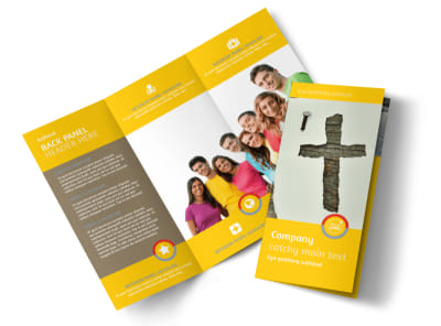 Church Ministry & Youth Group Tri Fold Brochure Template preview