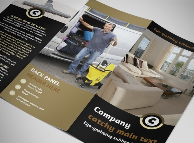 Carpet cleaning service tri fold brochure template for Cleaning service brochure templates