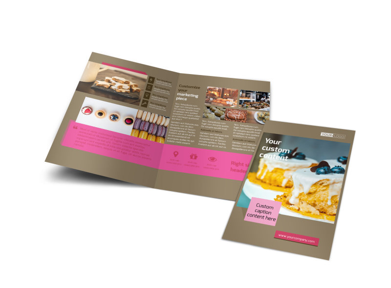 Pastry catering bi fold brochure template for Catering brochure templates