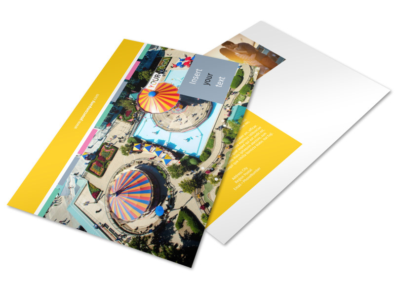 Amusement Park Postcard Template