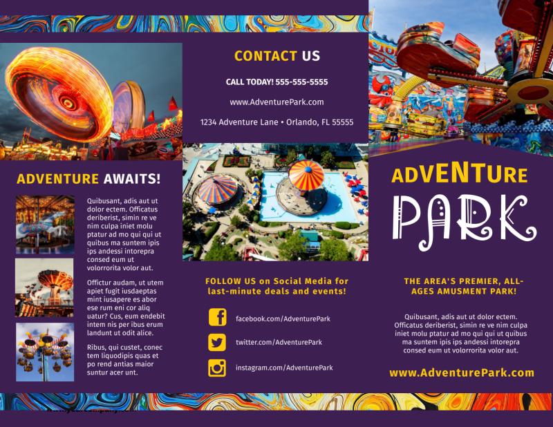 Amusement Park Brochure Template Preview 2