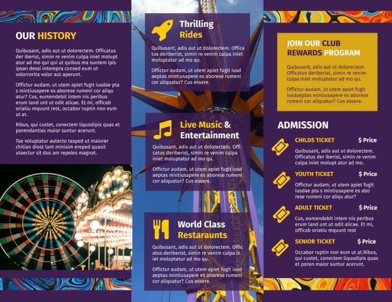 Amusement Park Brochure Template Preview 3