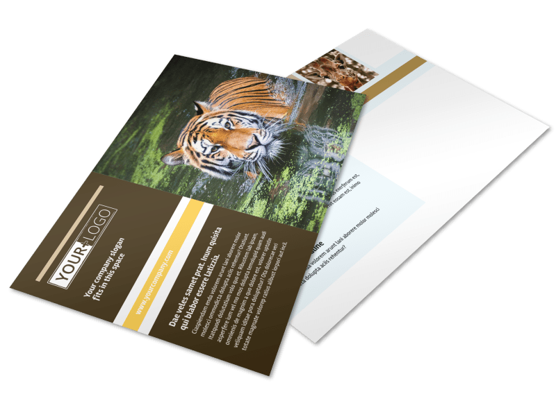 Zoo & Wild Animal Park Postcard Template Preview 1