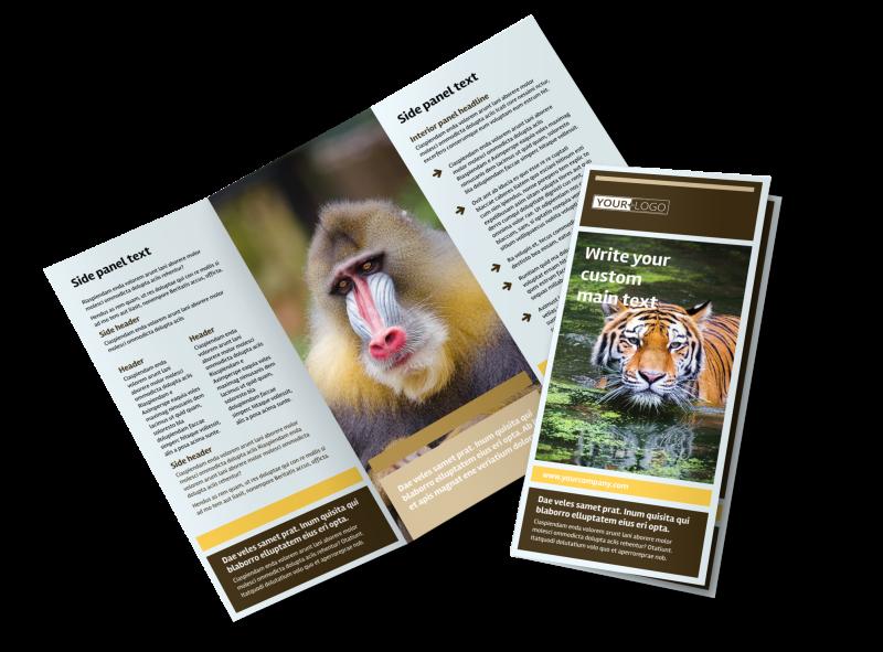 Zoo & Wild Animal Park Tri-Fold Brochure Template