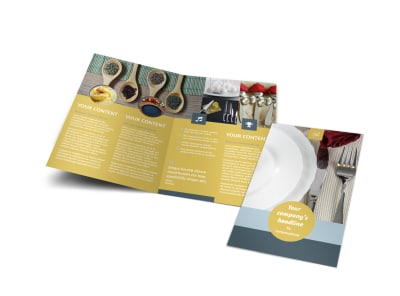 Dinnerware & Kitchen Supplies Bi-Fold Brochure Template