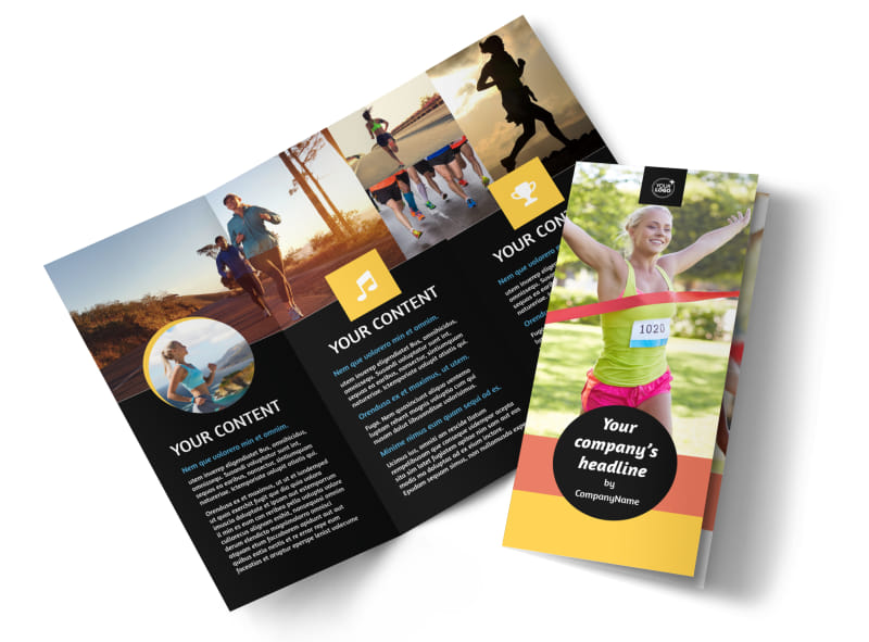 City Running Club Tri-Fold Brochure Template