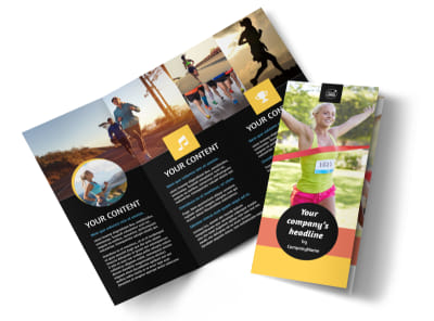 City Running Club Tri-Fold Brochure Template preview