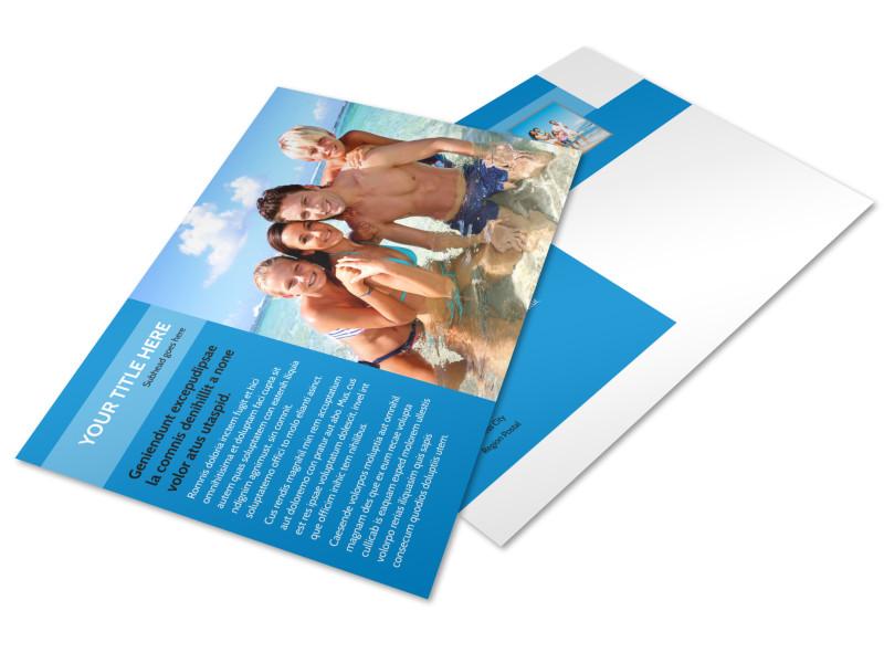 Family Beach Resort Postcard Template