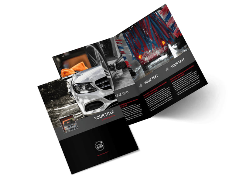 Professional Car Washing Bi-Fold Brochure Template 2