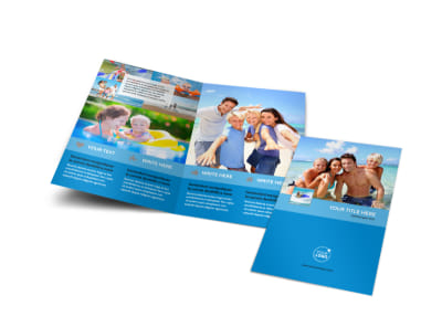 Family Beach Resort Bi-Fold Brochure Template