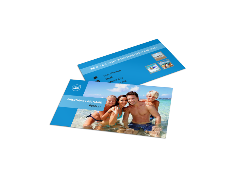 Family Beach Resort Business Card Template Preview 1