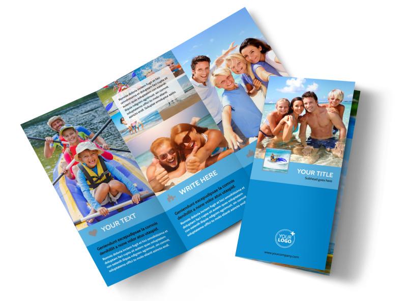 Family Beach Resort Tri-Fold Brochure Template