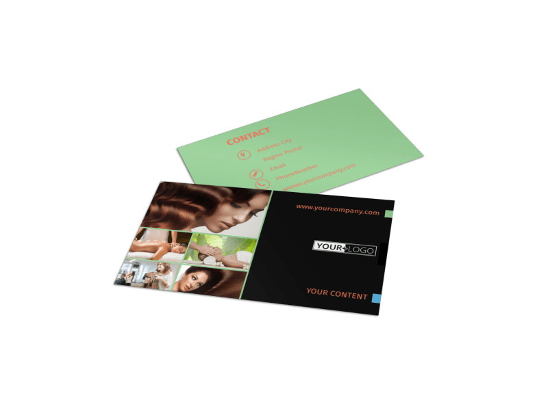 Hair Salon & Spa Business Card Template Preview 1
