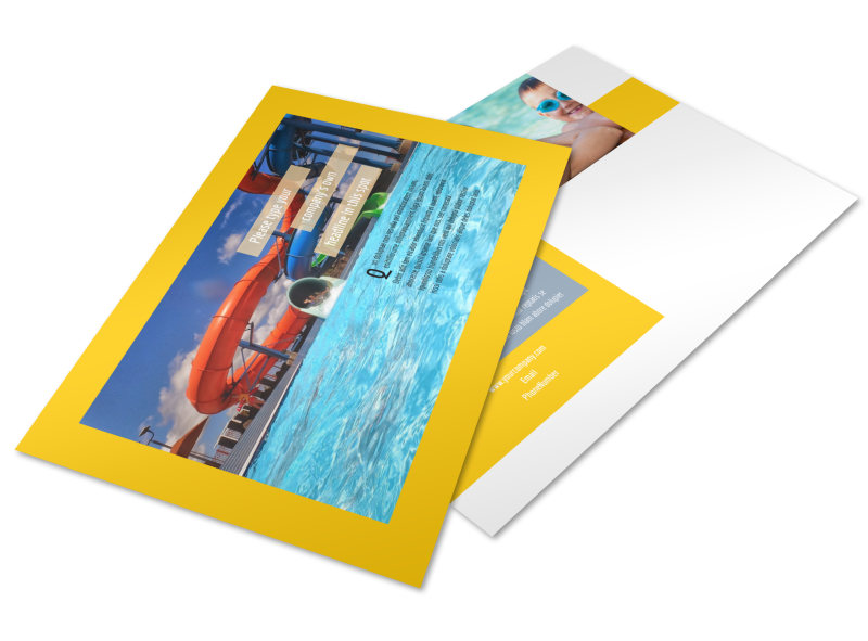 Summer Water Parks Postcard Template Preview 4