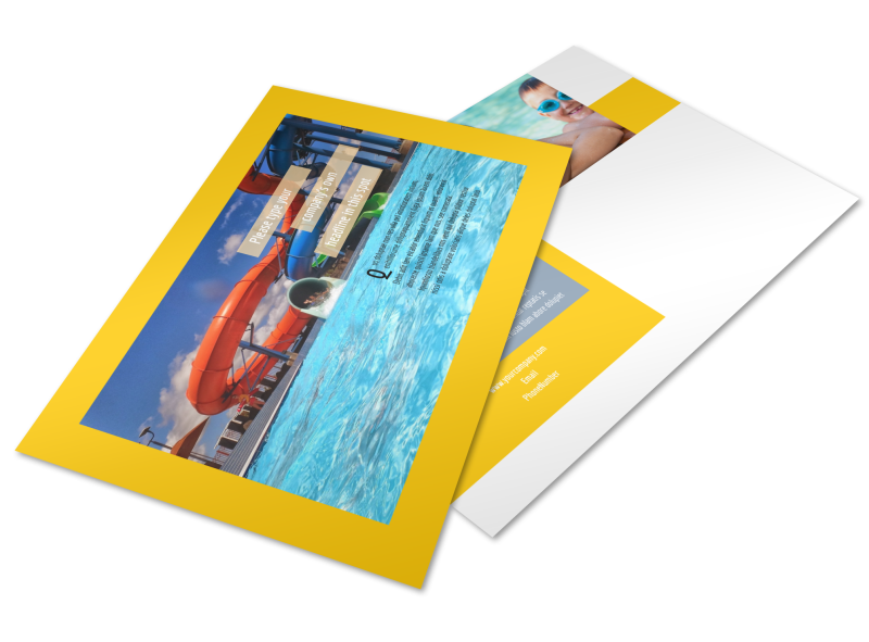 Summer Water Parks Postcard Template Preview 1