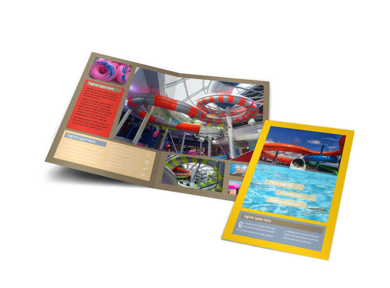 Summer Water Parks Bi-Fold Brochure Template
