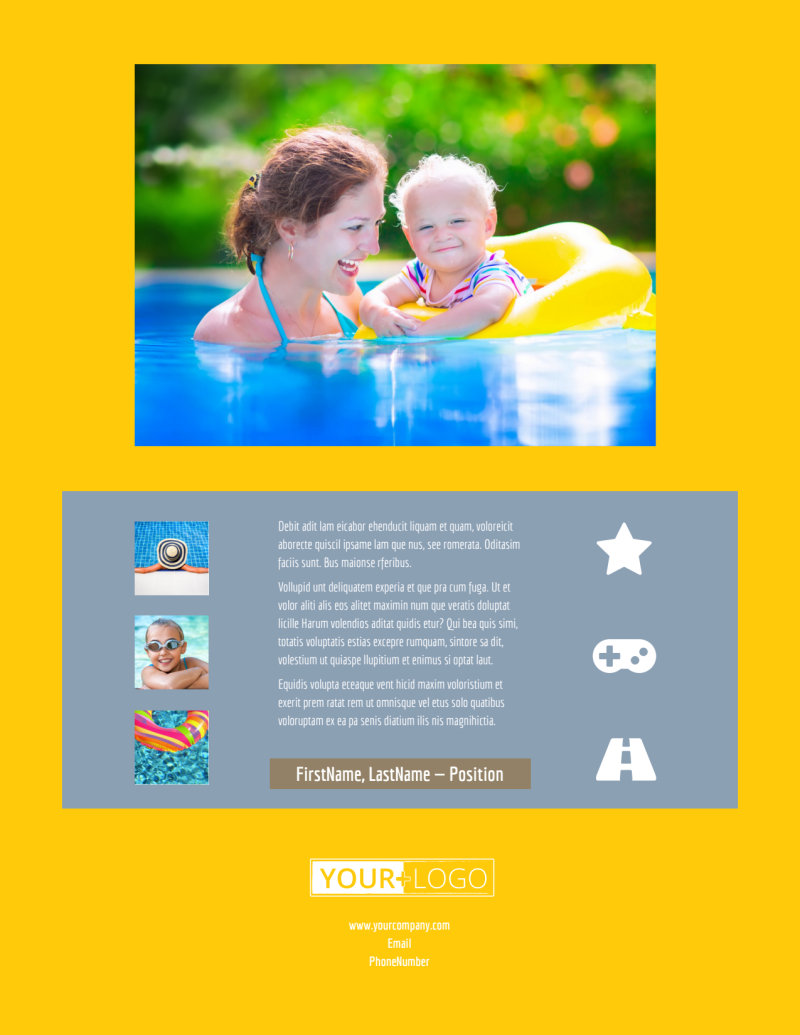 Summer Water Parks Flyer Template Preview 3