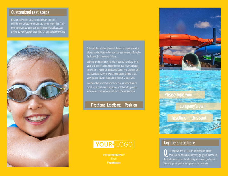 Summer Water Parks Brochure Template Preview 2