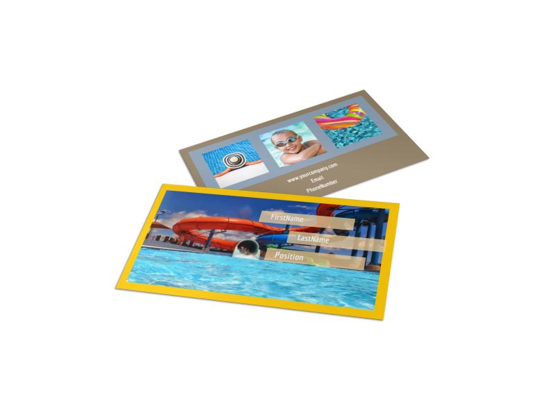 Summer Water Parks Business Card Template Preview 1