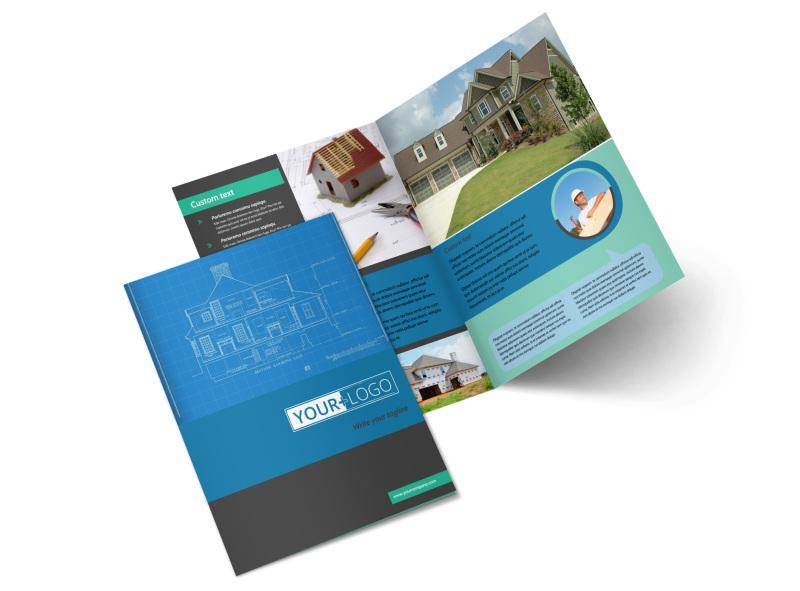 Home Builders & Construction Bi-Fold Brochure Template 2
