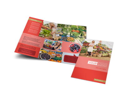 Local Farmers Market Bi-Fold Brochure Template preview
