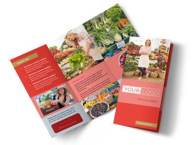 Local Farmers Market Tri-Fold Brochure Template preview
