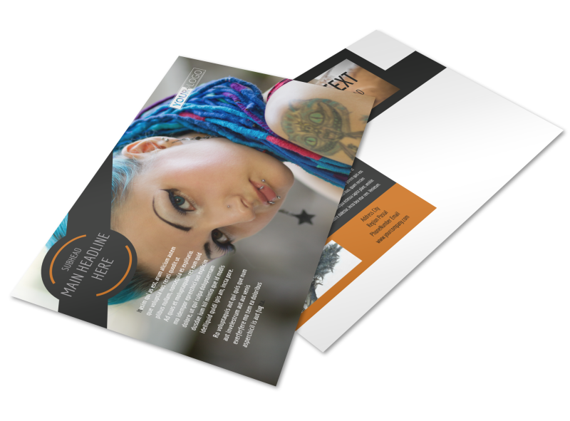 Tattoo & Body Piercing Parlor Postcard Template Preview 1