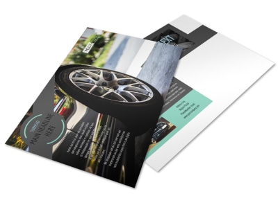 Tire Store Postcard Template preview
