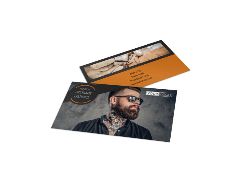 Tattoo & Body Piercing Parlor Business Card Template Preview 1