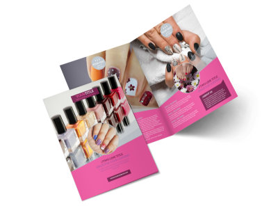 Fashion Nail Salon Bi-Fold Brochure Template 2