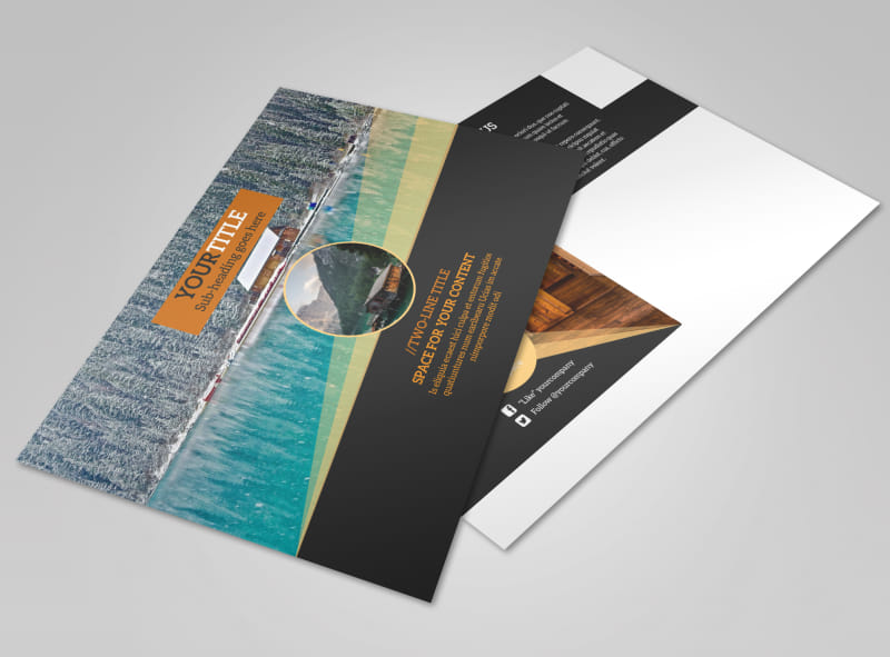 Lake Front Resort Postcard Template
