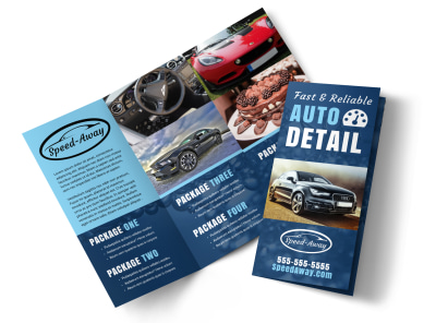 Auto Detailing Tri Fold Brochure Template preview