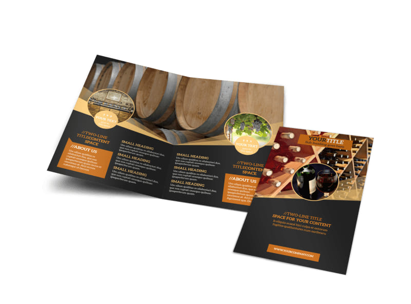 Wine tour bi fold brochure template for Wine brochure template