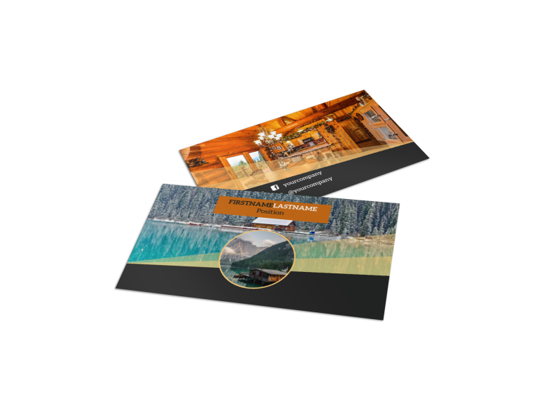 Lake Front Resort Business Card Template Preview 1