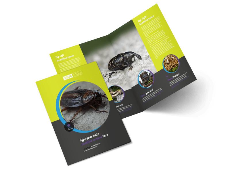 pest control services bi fold brochure template. Black Bedroom Furniture Sets. Home Design Ideas