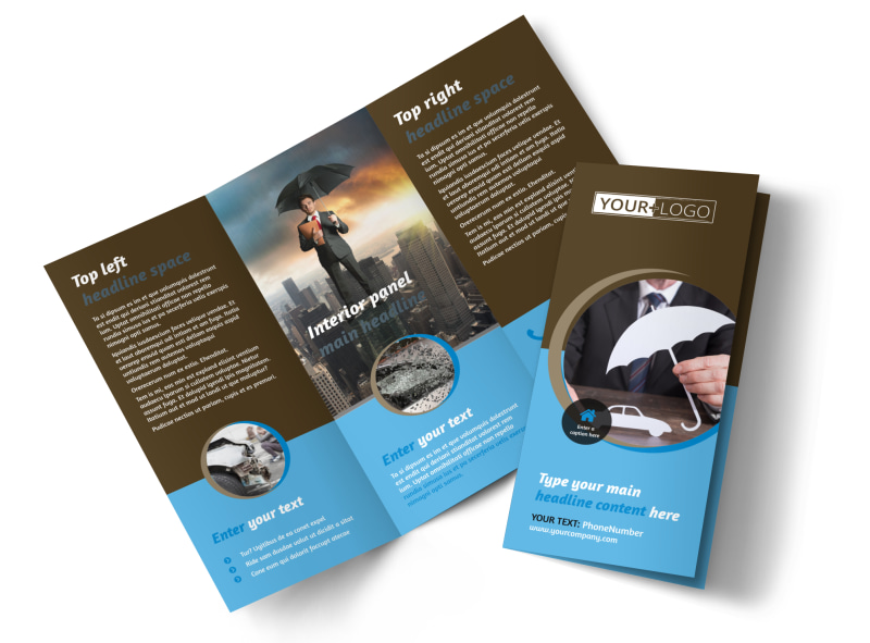 car insurance company tri fold brochure template