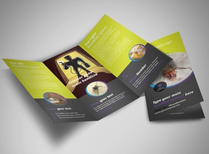 pest control services tri fold brochure template. Black Bedroom Furniture Sets. Home Design Ideas