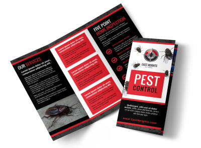 Pest Control Services Tri-Fold Brochure Template preview