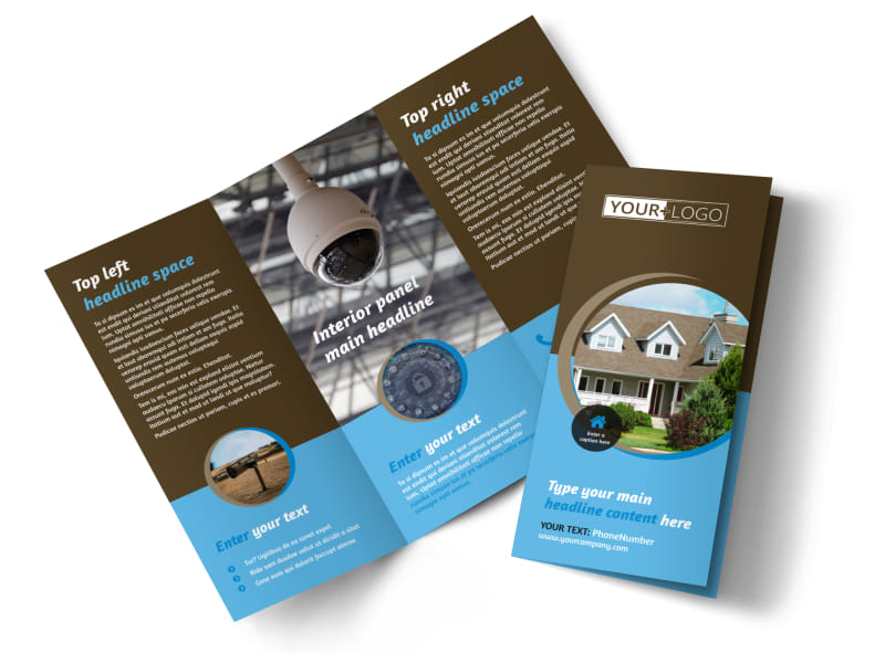 Home Security Installation Tri-Fold Brochure Template