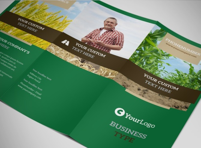 agriculture brochure templates free - farming agriculture tri fold brochure template
