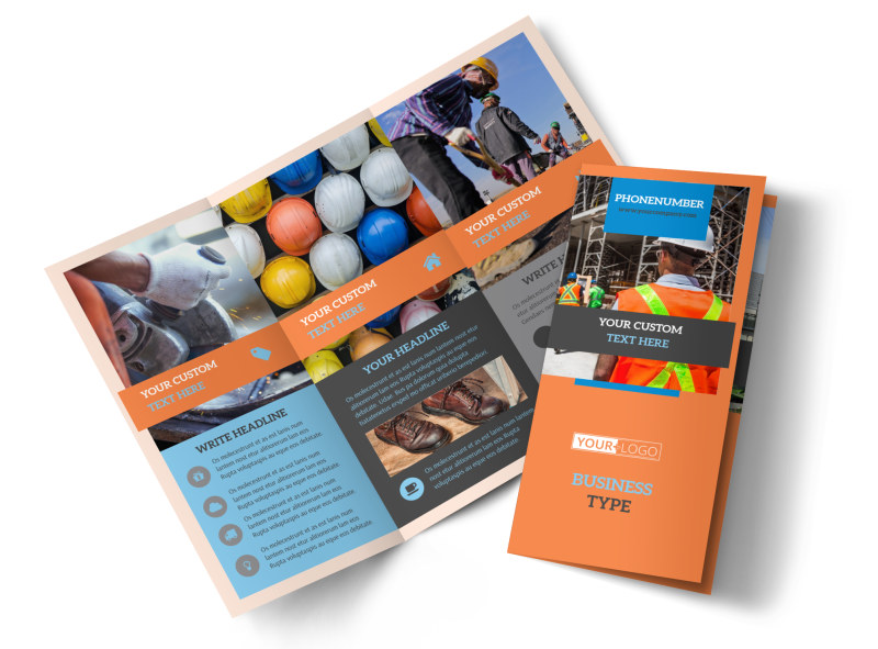 Construction Safety Tri-Fold Brochure Template