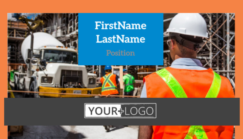 Construction Safety Business Card Template Preview 2