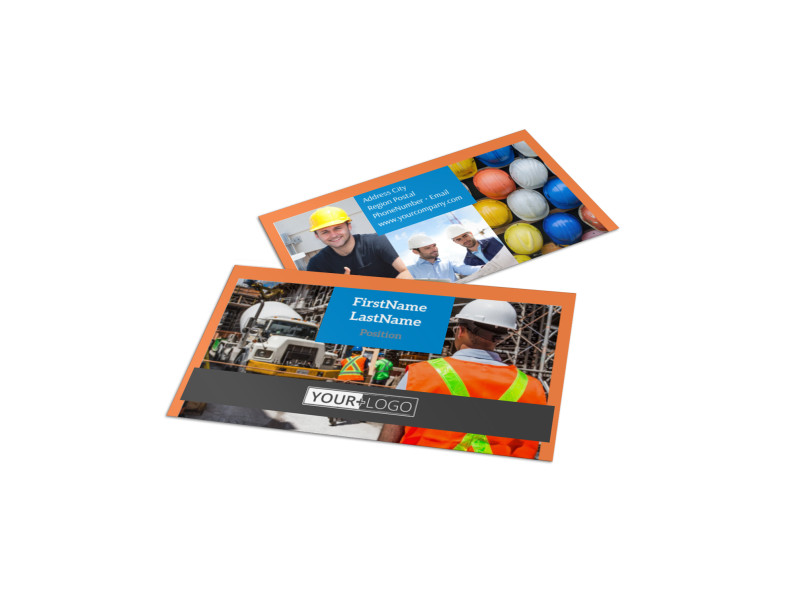 Construction Safety Business Card Template Preview 1